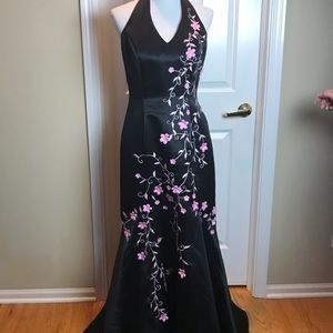 Roberta | Prom Dress, Black/Pink Flowers, 11/12